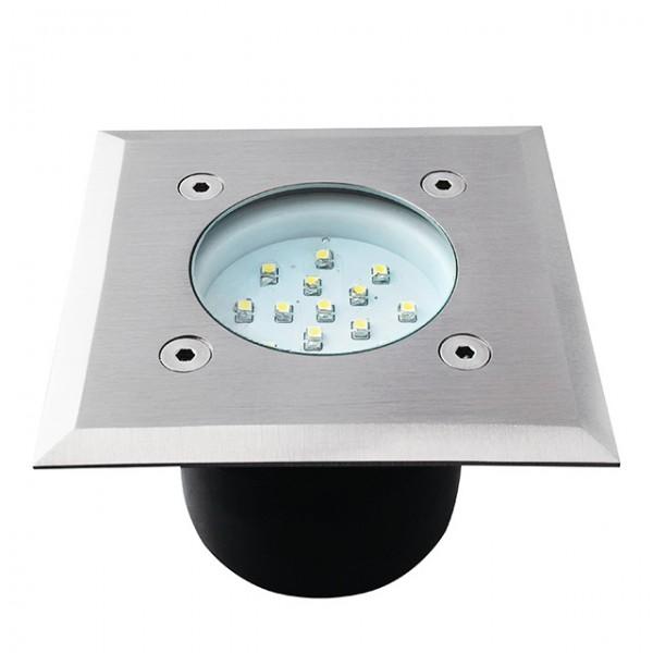 LED Bodeneinbaustrahler Außenleuchte Edelstahl, quadratisch, Bohrloch 87mm, befahrbar, IP65, 14LED S