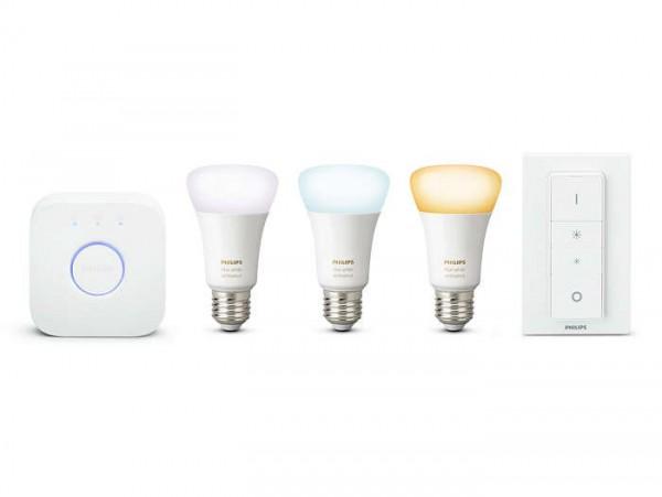 Philips® Hue White Ambiance Starter-Kit, 3x LED Leuchtmittel dimmbar, Länge 110 mm, Sockel E27, Wink