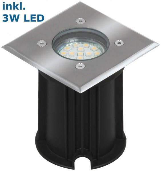 LED Bodeneinbaustrahler / Außenleuchte quadratisch, Bohrloch 92mm, inklusive LED GU10 3Watt 230 Lume