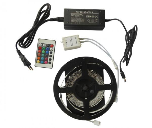 5M RGB LED Streifen / Strip / Band KOMPLETTSET 500cm inkl. RGB Controller, Netzteil - DIMMBAR IP20 v