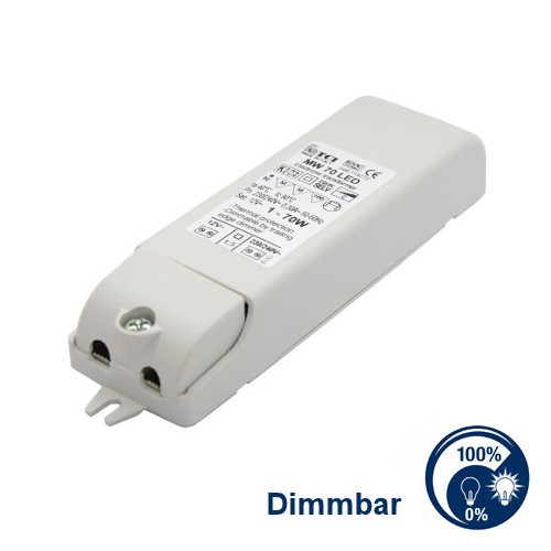 TCI® LED Trafo dimmbar, für Möbeleinbau zugelassen, LxBxH: 110 x 33 x 20 mm, 12 Volt Wechselstrom AC