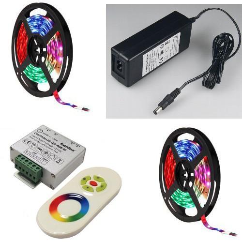 10 Meter RGB LED Streifen / Strip / Band inkl. FUNK-RGB Controller, Netzteil + Fernbedienung