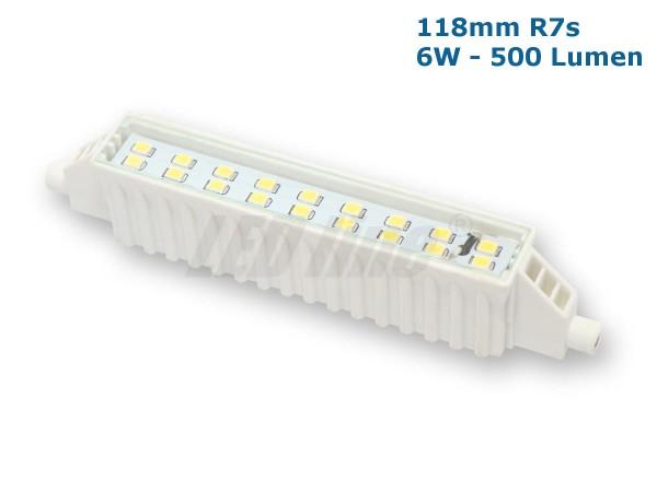 LEDLine®LED Strahler / Leuchtmittel, Länge 118mm, Sockel R7s, Winkel 120º, 6W = 25W, 500 Lumen, 300