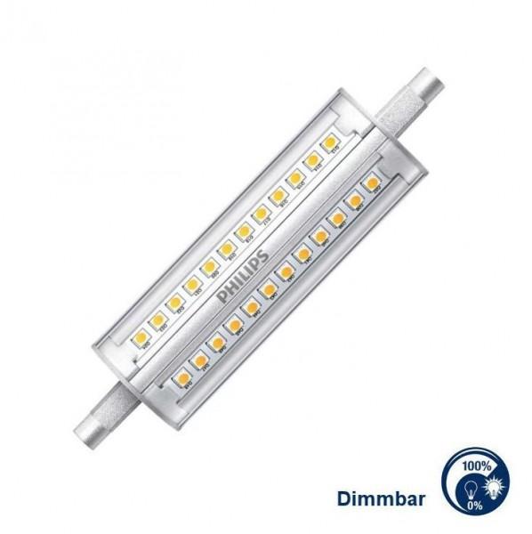 Philips®LED Strahler / Leuchtmittel dimmbar, Länge 118 mm, Sockel R7s, Winkel 300°, 14 Watt = 100 W