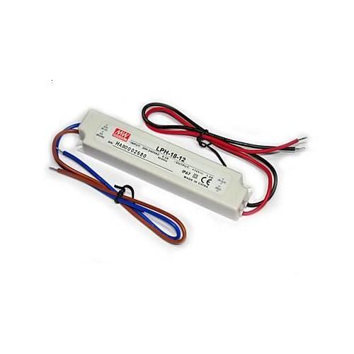 MEAN WELL® LED Trafo, IP67, LxBxH: 140 x 30 x 23 mm, 12 Volt Gleichstrom DC, 18 Watt
