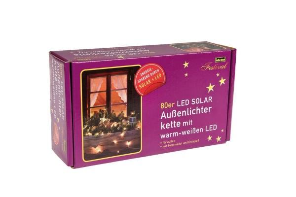 80er Solar LED Lichterkette, Länge 750 cm, für den Innen- und Außenbereich, warmweiß, inkl. Solarpan