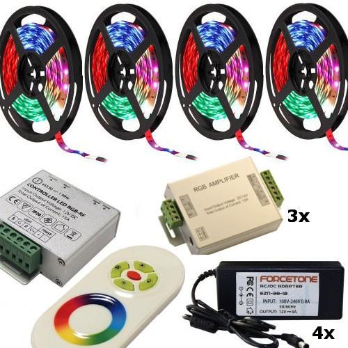 20m Meter (15m / 20m / 25m / 30m / 35m / 40m / 45m / 50m) RGB LED Streifen / Strip / Band Komplett S