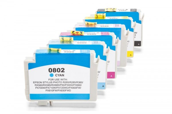 Alternativ zu Epson C13T08074010/T0807 Spar-Set (BK,CMY,LC,LM) 6 Stück