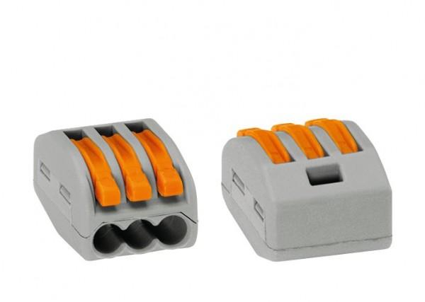 WAGO Klemme, Verbindungsklemme 3-fach für starre und flexible Kabel bis 4mm³, lösbar