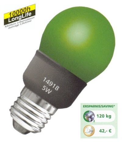 Energiesparlampe bunt E27 Sparlampe Mini Globe grün 5 Watt = 25 Watt