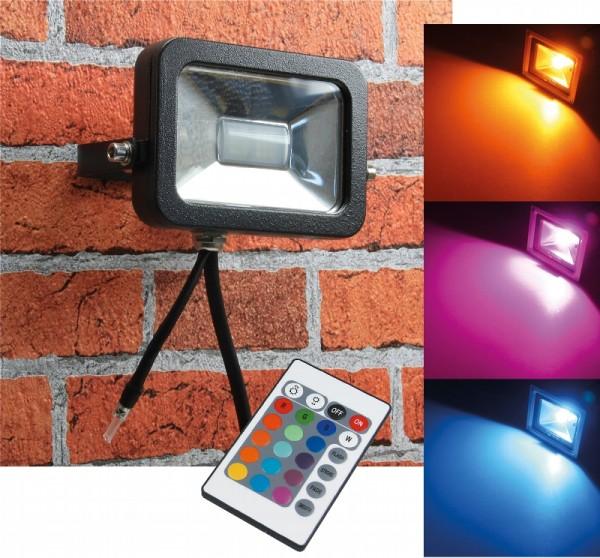 Chilitec® RGB LED Fluter / Scheinwerfer Schutzklasse IP44 für den Außenbereich, mit Fernbedienung fü