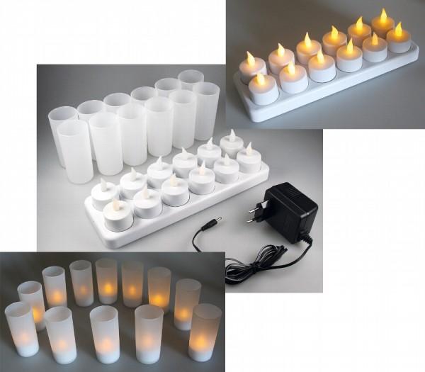 12er LED Teelichter Set mit Windschutz und aufladbarem Akku inkl. Ladestation und Netzteil
