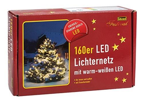 160er LED Lichternetz, Abmessungen 200 x 100 cm, für den Innen- und Außenbereich, warmweiß