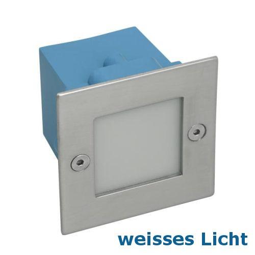 LED Wandeinbaustrahler, LED Treppenleuchte Edelstahl, quadratisch, IP54 für Innen & Aussen, 230V, 40