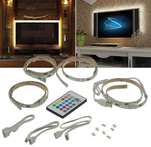 RGB LED Streifen / Strip / Band TV Set speziell für TV Backlight 4x 50cm RGB LED Band - USB mit Fern