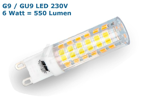 LEDLine® LED Leuchtmittel, Länge 61 mm, Sockel G9, Winkel 270º, 6W = 50W, 550 Lumen, 6000K weiß / ka