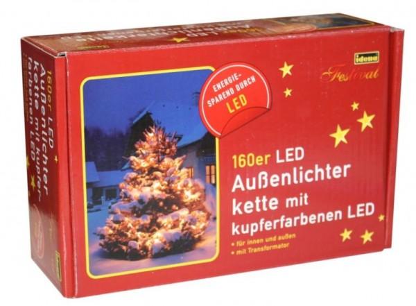 80er LED Lichterkette, Länge 800 cm, für den Innen- und Außenbereich, Lichtfarbe Kupfer