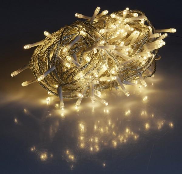 200er LED Lichterkette mit Niedervolt-Trafo, 2500 cm, für den Innen- und Außenbereich, warmweiß