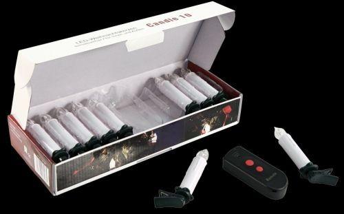 10er kabellose LED Kerzen mit IR Fernbedienung, für den Innen- und Außenbereich, farbig
